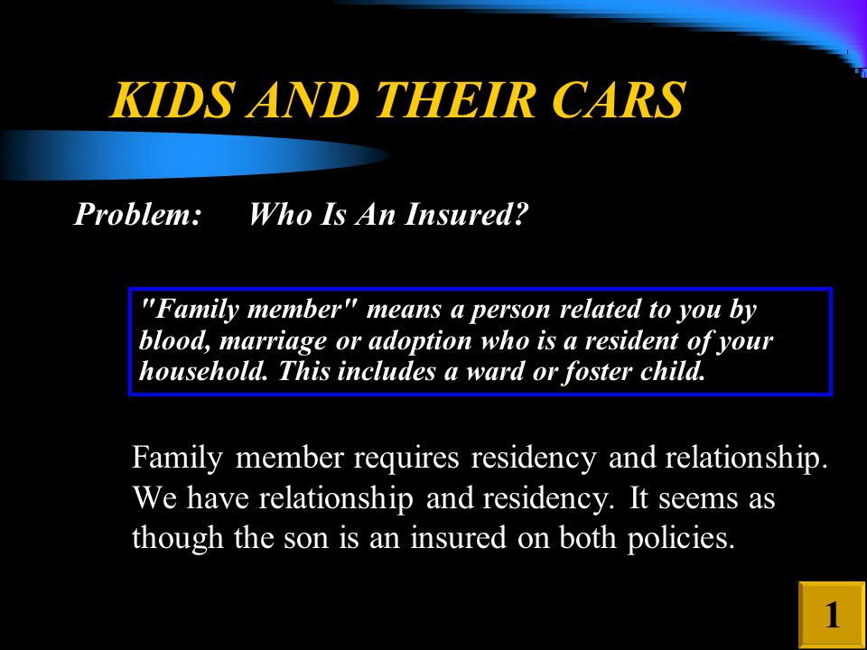 KIDS AND THEIR CARS Problem: Are there any policy exclusions that may affect coverage? 2