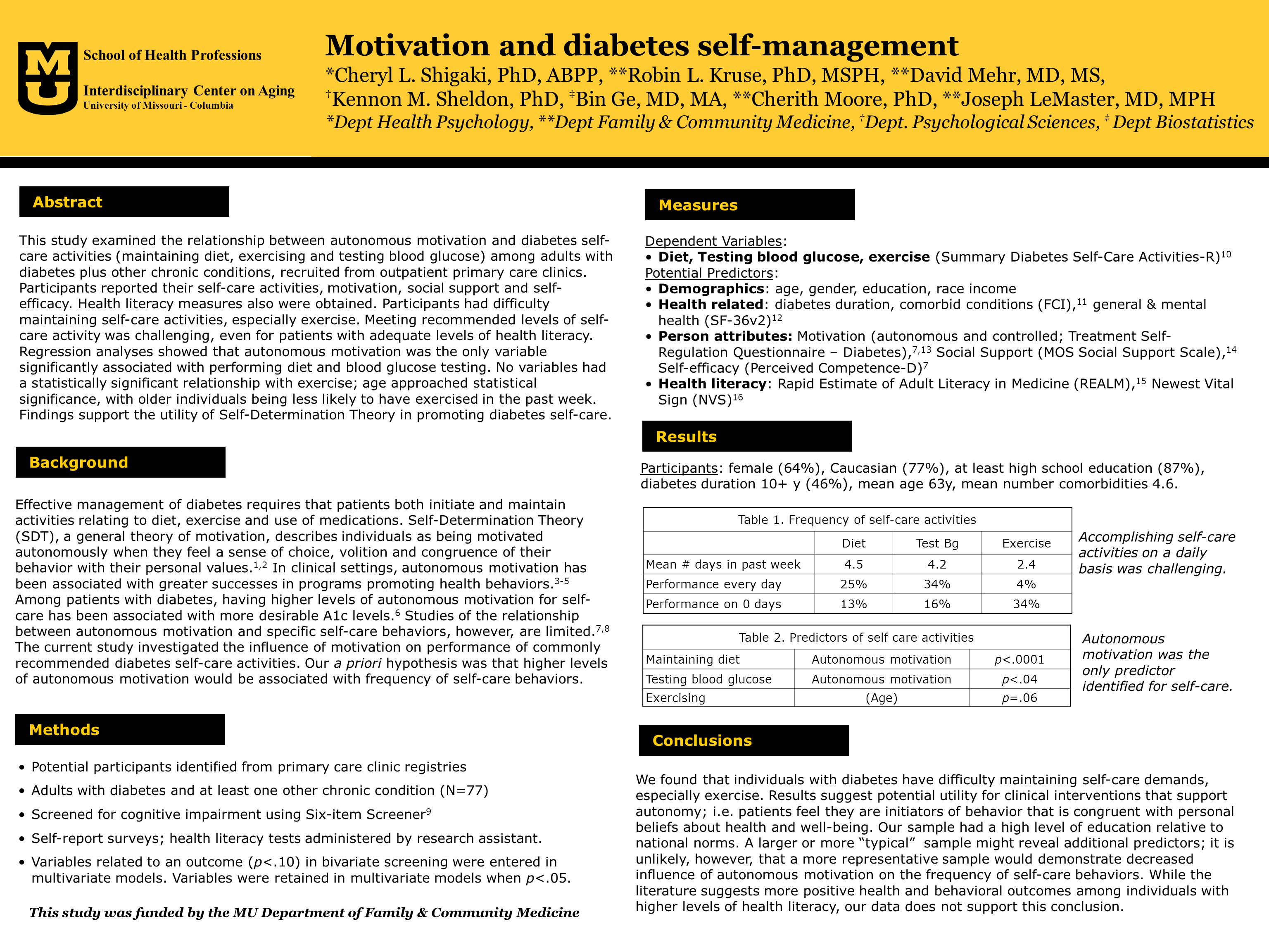 Motivation and diabetes self-management *Cheryl L.