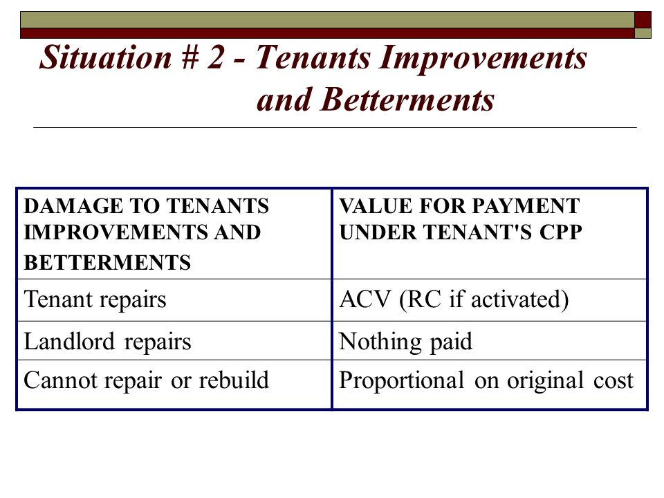 Situation # 2 - Tenants Improvements and Betterments DAMAGE TO TENANTS IMPROVEMENTS AND BETTERMENTS VALUE FOR PAYMENT UNDER TENANT'S CPP Tenant repair