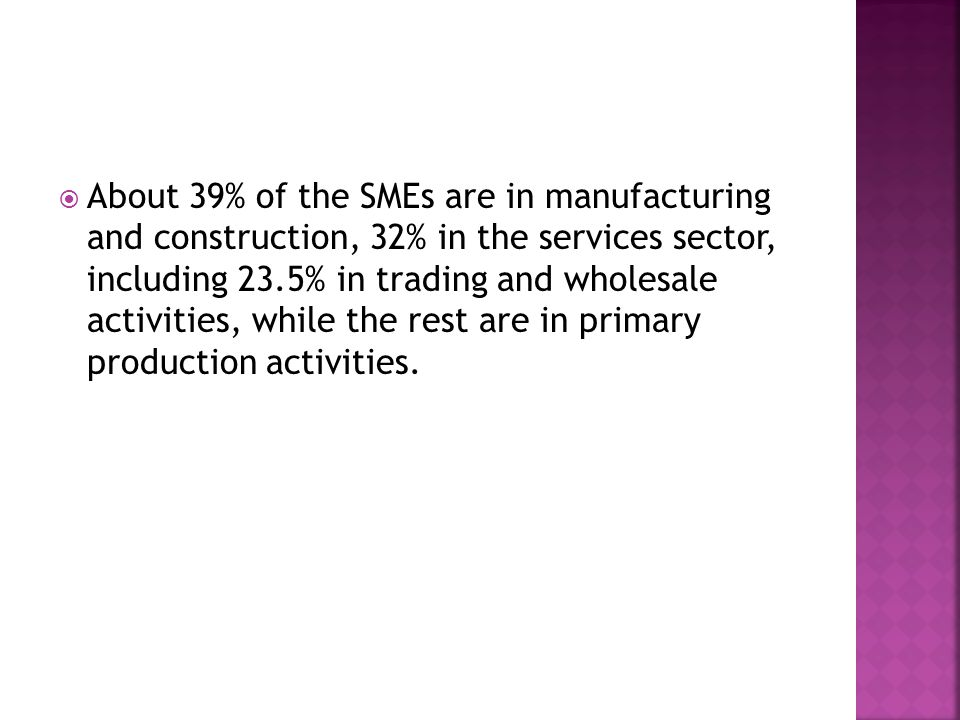  About 39% of the SMEs are in manufacturing and construction, 32% in the services sector, including 23.5% in trading and wholesale activities, while the rest are in primary production activities.
