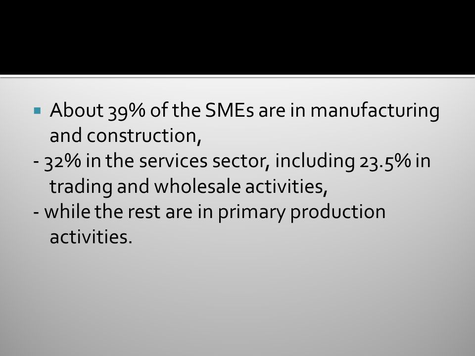  About 39% of the SMEs are in manufacturing and construction, - 32% in the services sector, including 23.5% in trading and wholesale activities, - while the rest are in primary production activities.