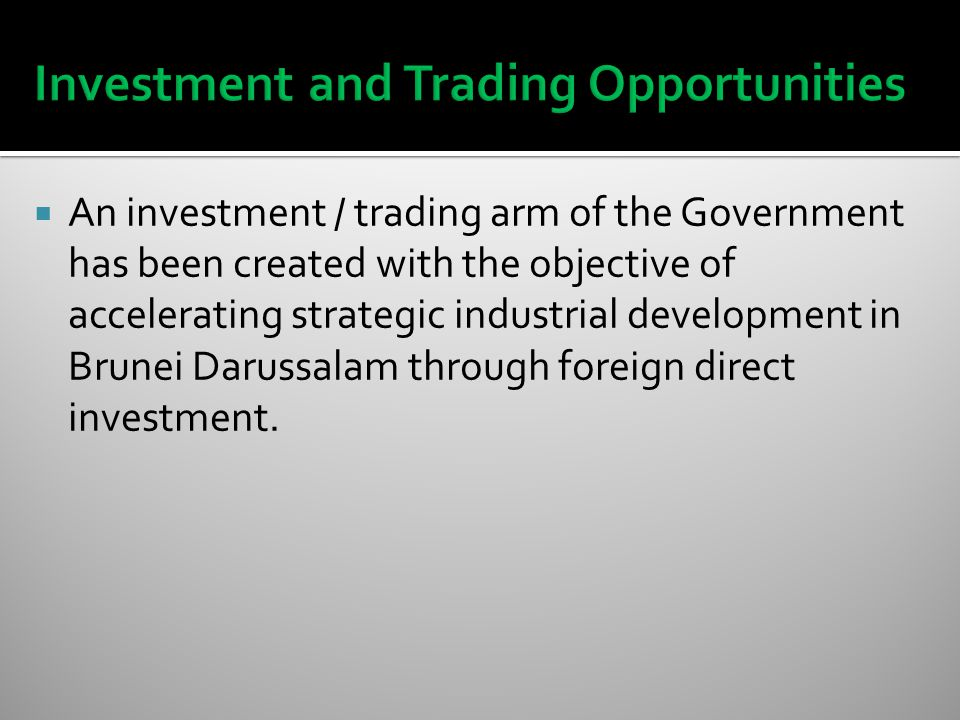  An investment / trading arm of the Government has been created with the objective of accelerating strategic industrial development in Brunei Darussalam through foreign direct investment.
