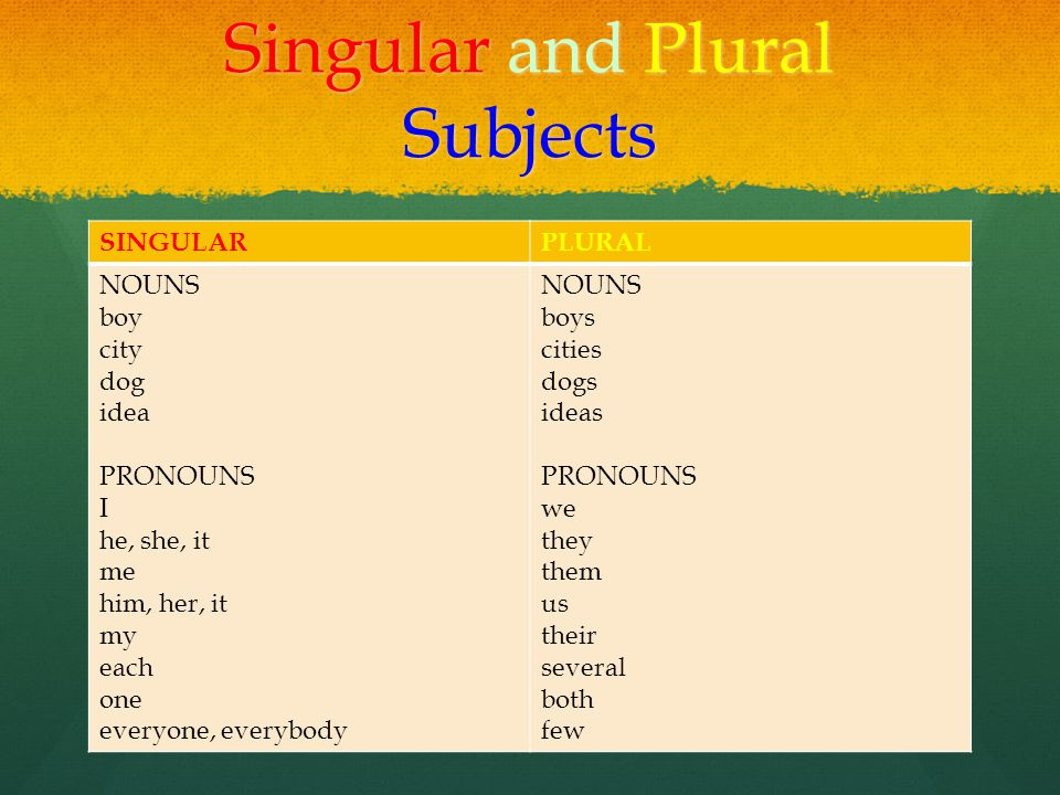 Singular and Plural Subjects SINGULARPLURAL NOUNS boy city dog idea PRONOUNS I he, she, it me him, her, it my each one everyone, everybody NOUNS boys cities dogs ideas PRONOUNS we they them us their several both few