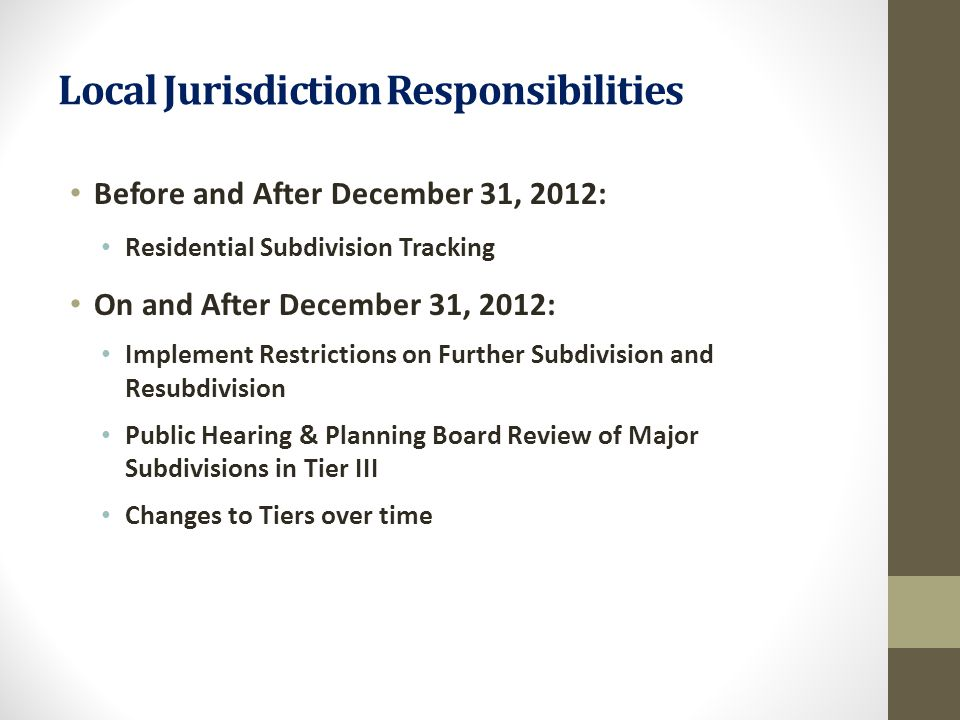 Local Jurisdiction Responsibilities Before and After December 31, 2012: Residential Subdivision Tracking On and After December 31, 2012: Implement Res