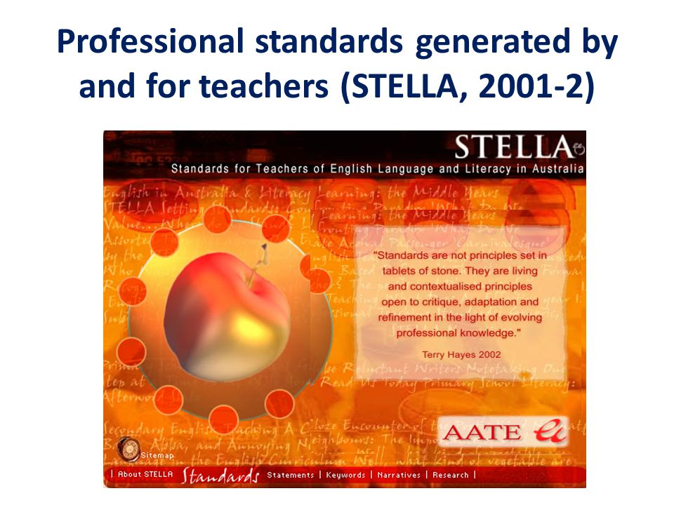 Professional standards generated by and for teachers (STELLA, 2001-2)