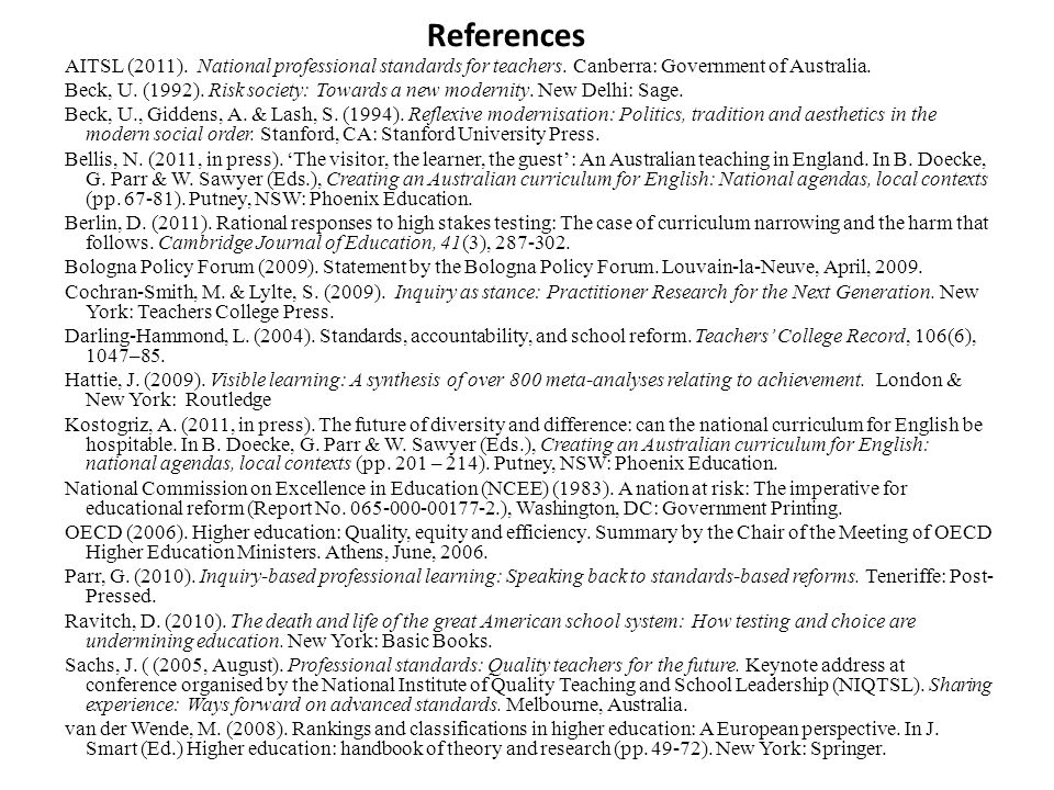 References AITSL (2011). National professional standards for teachers.