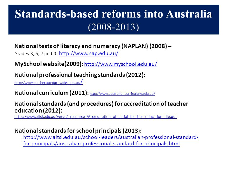 Standards-based reforms into Australia (2008-2013) National tests of literacy and numeracy (NAPLAN) (2008) – Grades 3, 5, 7 and 9: http://www.nap.edu.au/ http://www.nap.edu.au/ MySchool website(2009): http://www.myschool.edu.au/ http://www.myschool.edu.au/ National professional teaching standards (2012): http://www.teacherstandards.aitsl.edu.au / http://www.teacherstandards.aitsl.edu.au / National curriculum (2011): http://www.australiancurriculum.edu.au/ http://www.australiancurriculum.edu.au/ National standards (and procedures) for accreditation of teacher education (2012): http://www.aitsl.edu.au/verve/_resources/Accreditation_of_initial_teacher_education_file.pdf http://www.aitsl.edu.au/verve/_resources/Accreditation_of_initial_teacher_education_file.pdf National standards for school principals (2013 ): http://www.aitsl.edu.au/school-leaders/australian-professional-standard- for-principals/australian-professional-standard-for-principals.html http://www.aitsl.edu.au/school-leaders/australian-professional-standard- for-principals/australian-professional-standard-for-principals.html