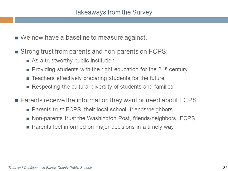 35 Trust and Confidence in Fairfax County Public Schools Takeaways from the Survey We now have a baseline to measure against.
