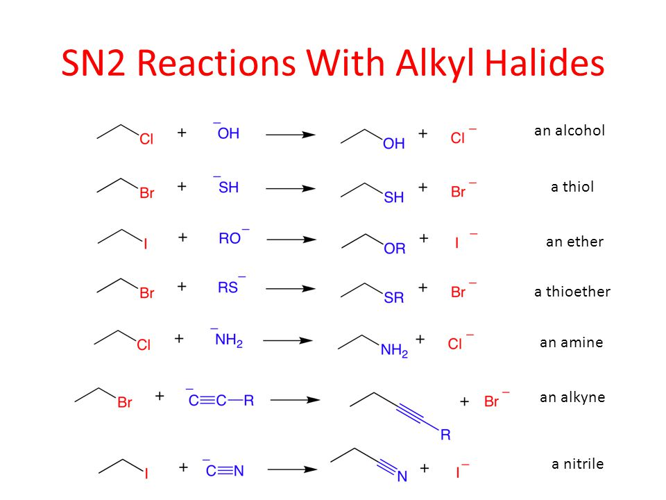 SN2 Reactions With Alkyl Halides an alcohol a thiol an ether a thioether an amine an alkyne a nitrile