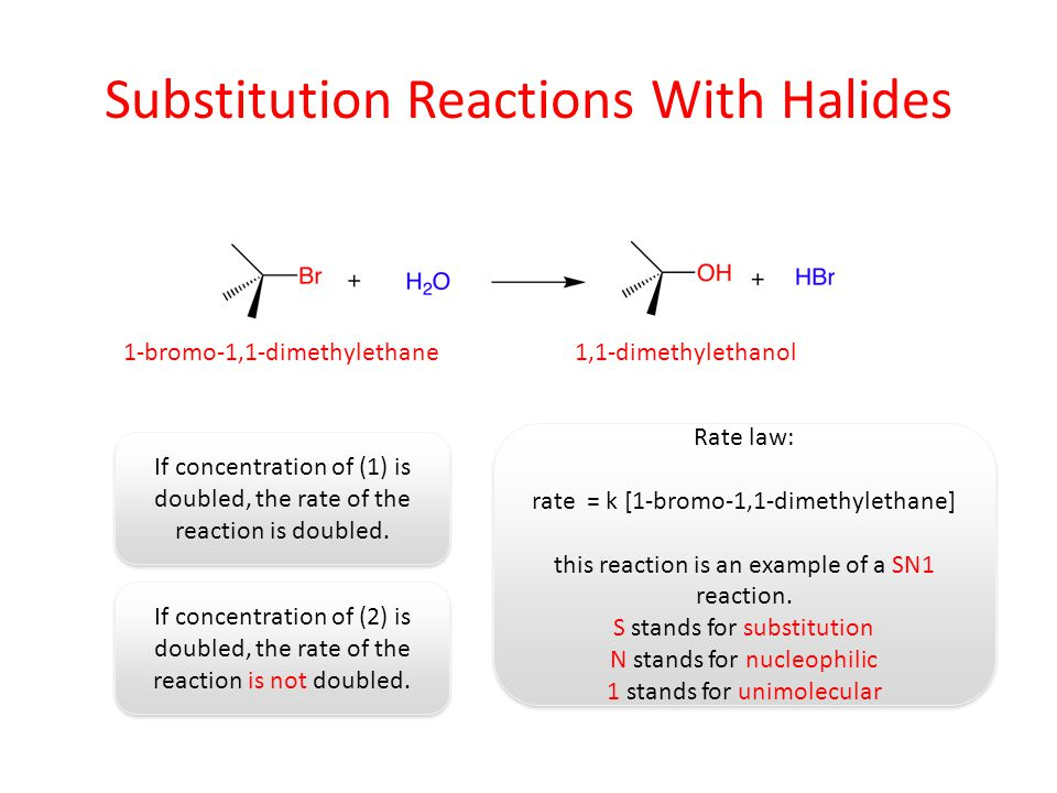 Substitution Reactions With Halides If concentration of (1) is doubled, the rate of the reaction is doubled. If concentration of (2) is doubled, the r