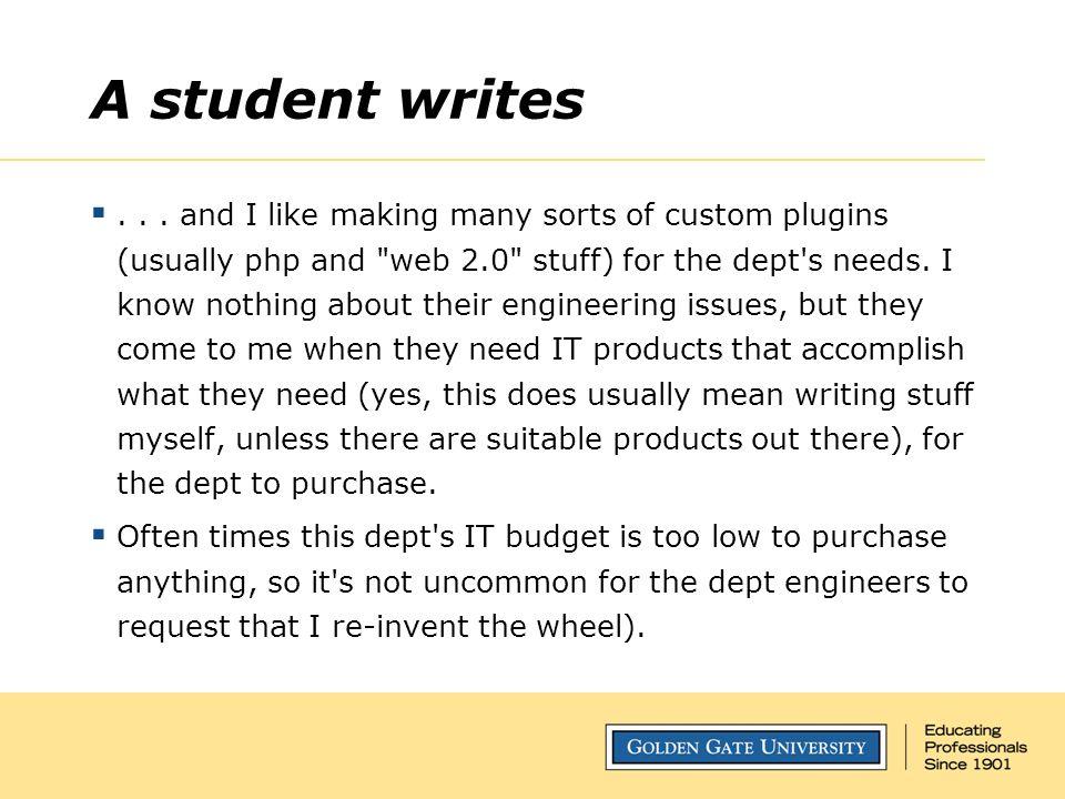 A student writes ...