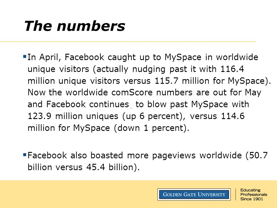 The numbers  In April, Facebook caught up to MySpace in worldwide unique visitors (actually nudging past it with 116.4 million unique visitors versus 115.7 million for MySpace).
