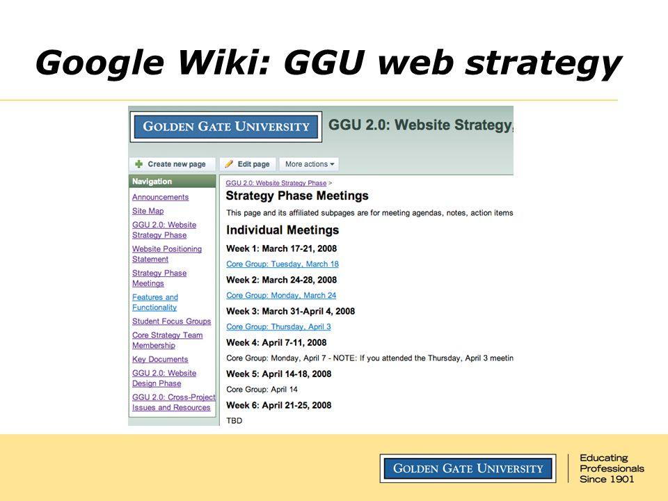 Google Wiki: GGU web strategy