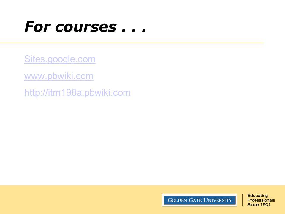 For courses... Sites.google.com www.pbwiki.com http://itm198a.pbwiki.com