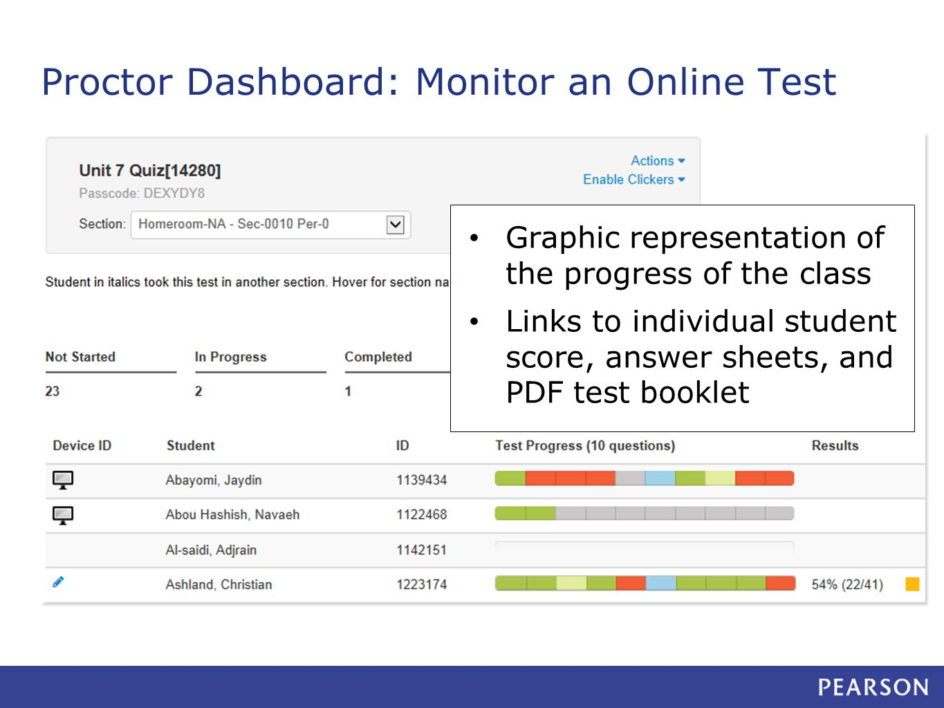 Proctor Dashboard: Monitor an Online Test Graphic representation of the progress of the class Links to individual student score, answer sheets, and PDF test booklet
