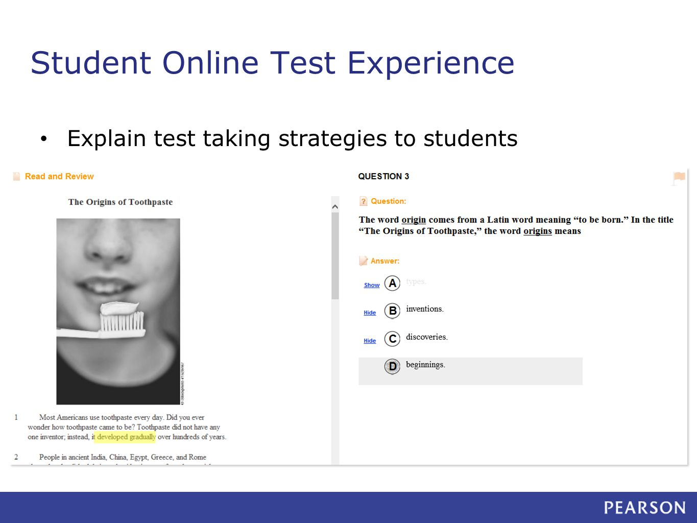 Student Online Test Experience Explain test taking strategies to students