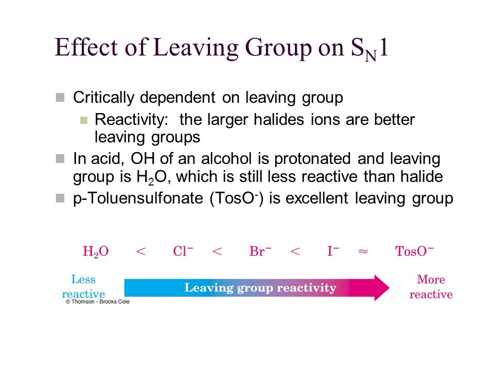 Effect of Leaving Group on S N 1 Critically dependent on leaving group Reactivity: the larger halides ions are better leaving groups In acid, OH of an alcohol is protonated and leaving group is H 2 O, which is still less reactive than halide p-Toluensulfonate (TosO - ) is excellent leaving group