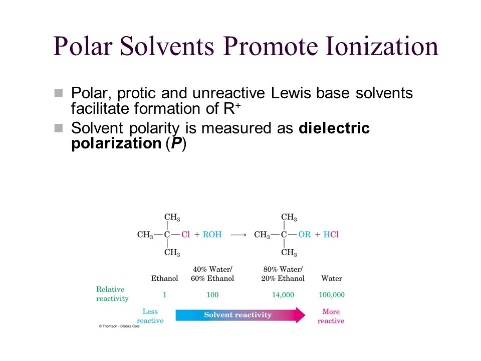 Polar Solvents Promote Ionization Polar, protic and unreactive Lewis base solvents facilitate formation of R + Solvent polarity is measured as dielectric polarization (P)