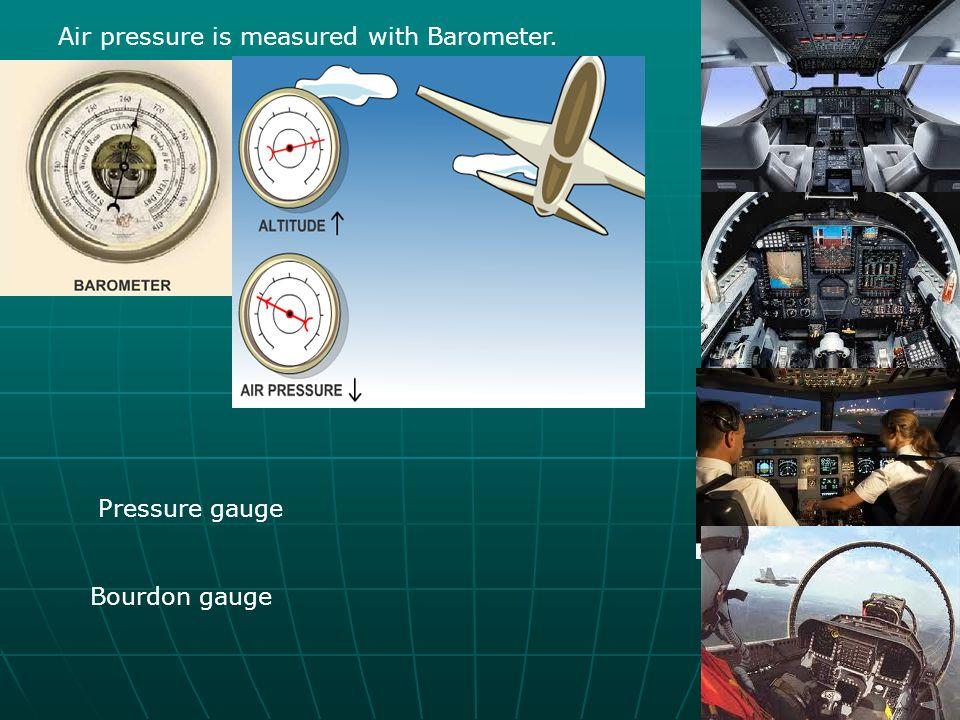Air pressure is measured with Barometer. Pressure gauge Bourdon gauge