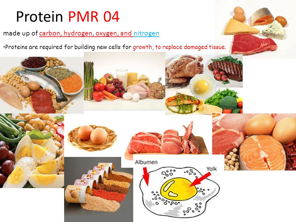 Protein PMR 04 made up of carbon, hydrogen, oxygen, and nitrogen Proteins are required for building new cells for growth, to replace damaged tissue.