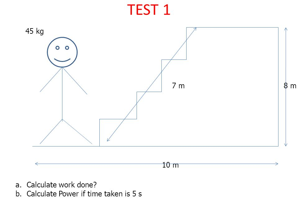 TEST 1 45 kg 10 m 8 m7 m a.Calculate work done? b.Calculate Power if time taken is 5 s