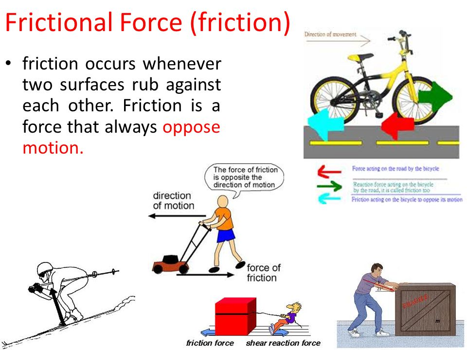 Frictional Force (friction) friction occurs whenever two surfaces rub against each other. Friction is a force that always oppose motion.
