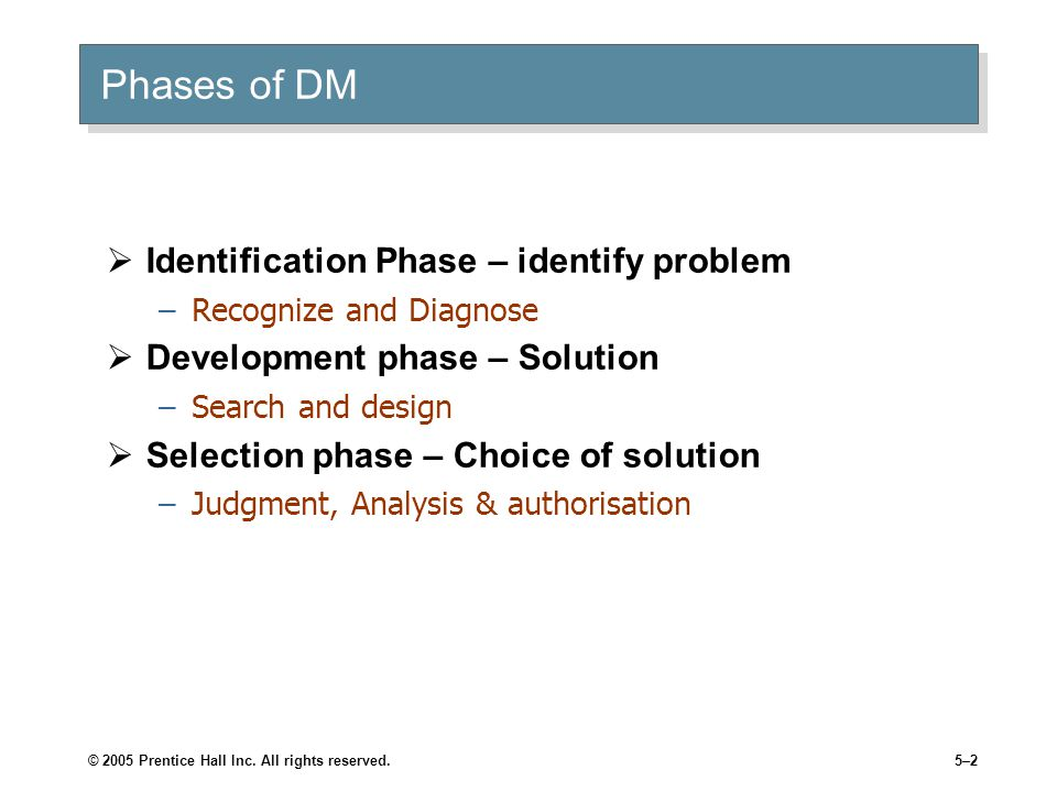 © 2005 Prentice Hall Inc. All rights reserved.5–2 Phases of DM  Identification Phase – identify problem –Recognize and Diagnose  Development phase –