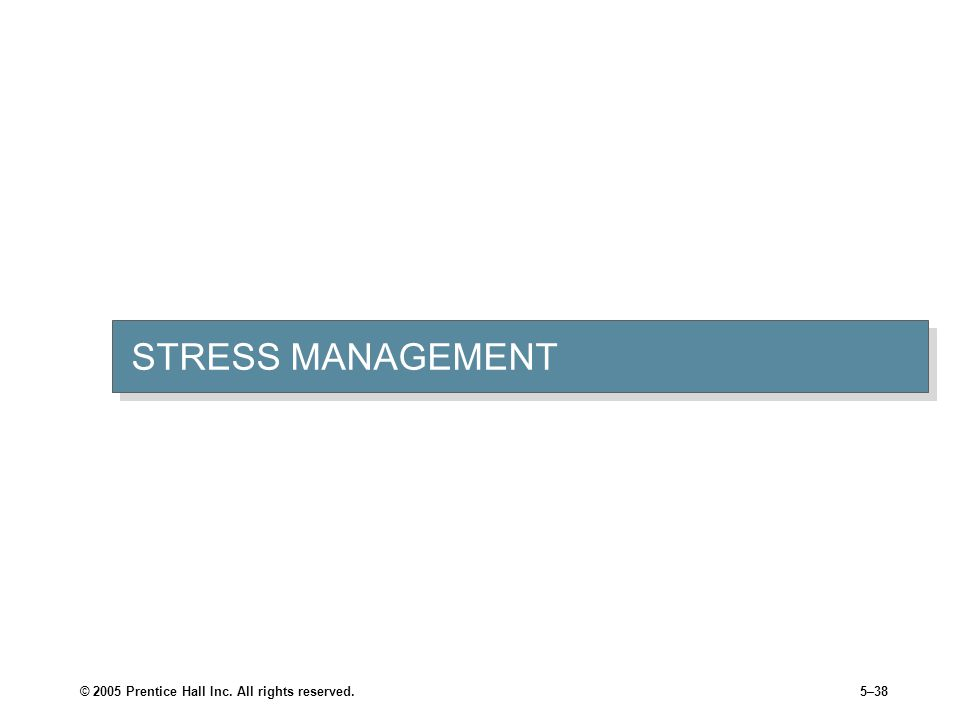 © 2005 Prentice Hall Inc. All rights reserved.5–38 STRESS MANAGEMENT