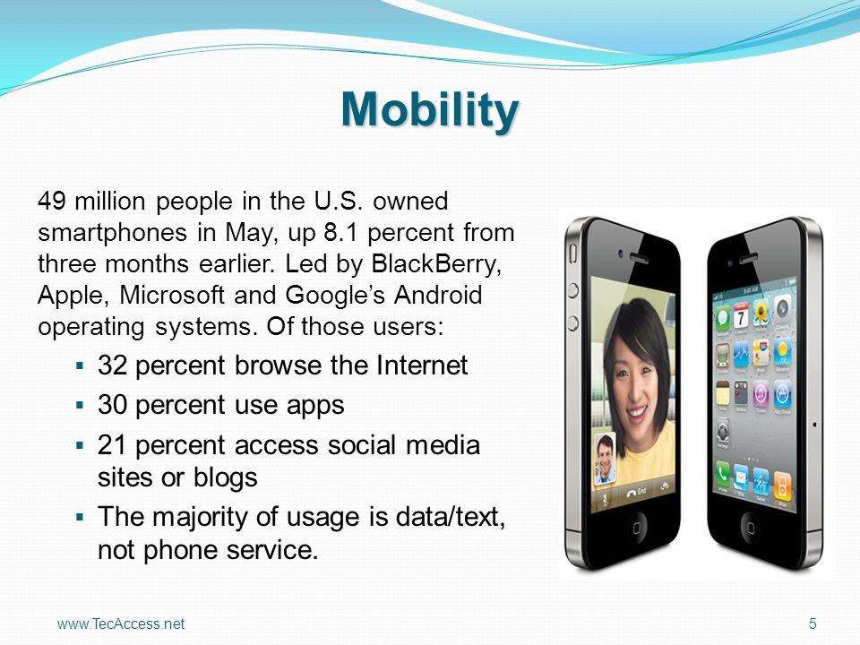 www.TecAccess.net5 Mobility 49 million people in the U.S. owned smartphones in May, up 8.1 percent from three months earlier. Led by BlackBerry, Apple