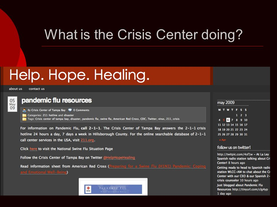 What is the Crisis Center doing
