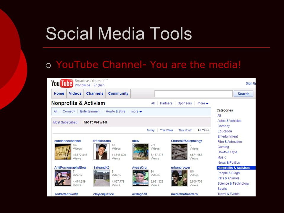 Social Media Tools  YouTube Channel- You are the media!