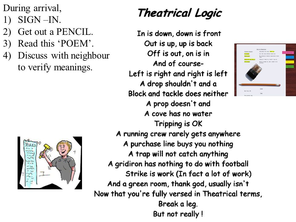 3 Theatrical Logic During arrival, 1)SIGN –IN.2)Get out a PENCIL.