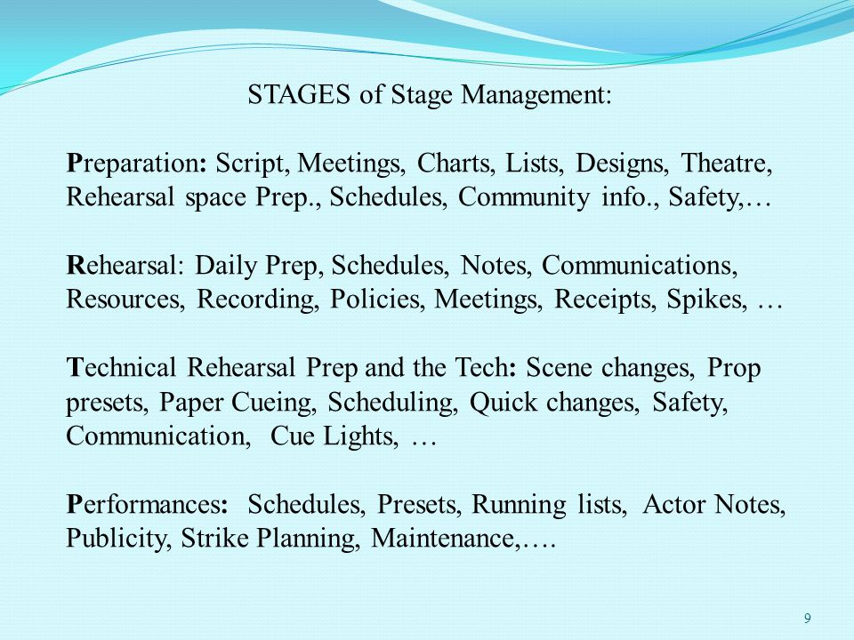 STAGES of Stage Management: Preparation: Script, Meetings, Charts, Lists, Designs, Theatre, Rehearsal space Prep., Schedules, Community info., Safety,… Rehearsal: Daily Prep, Schedules, Notes, Communications, Resources, Recording, Policies, Meetings, Receipts, Spikes, … Technical Rehearsal Prep and the Tech: Scene changes, Prop presets, Paper Cueing, Scheduling, Quick changes, Safety, Communication, Cue Lights, … Performances: Schedules, Presets, Running lists, Actor Notes, Publicity, Strike Planning, Maintenance,….