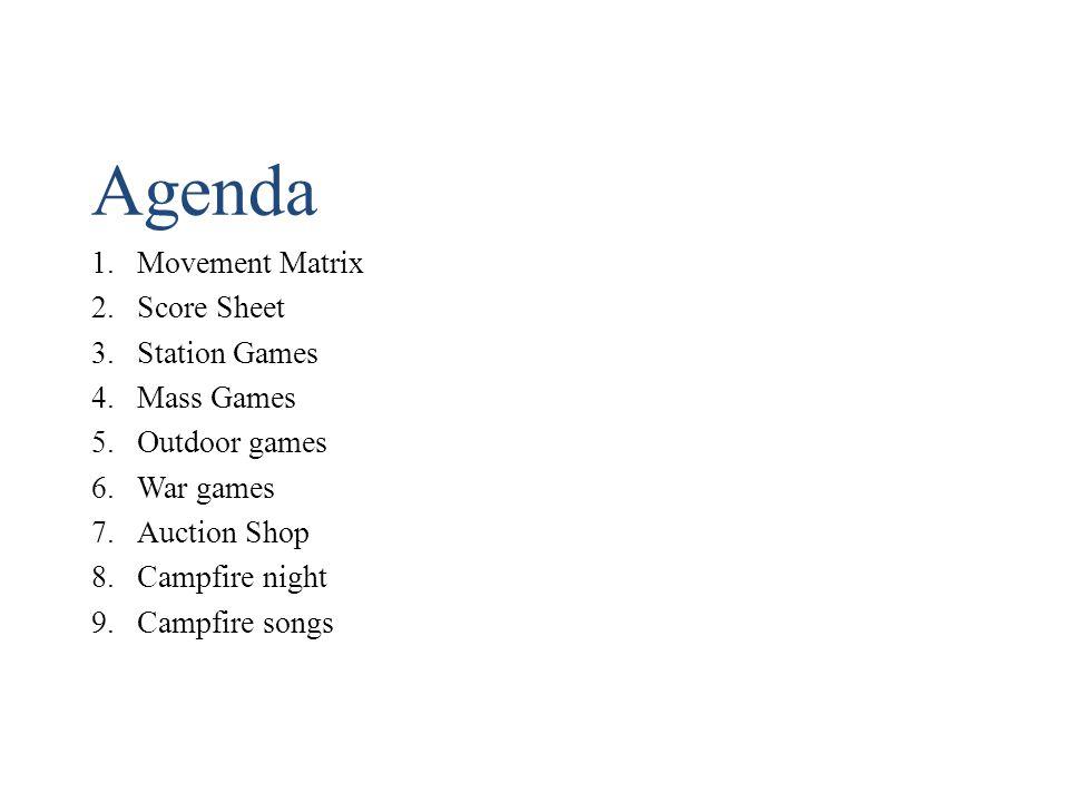 Agenda 1.Movement Matrix 2.Score Sheet 3.Station Games 4.Mass Games 5.Outdoor games 6.War games 7.Auction Shop 8.Campfire night 9.Campfire songs
