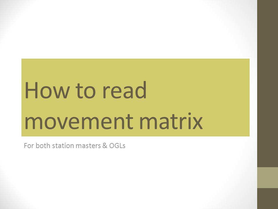 How to read movement matrix For both station masters & OGLs