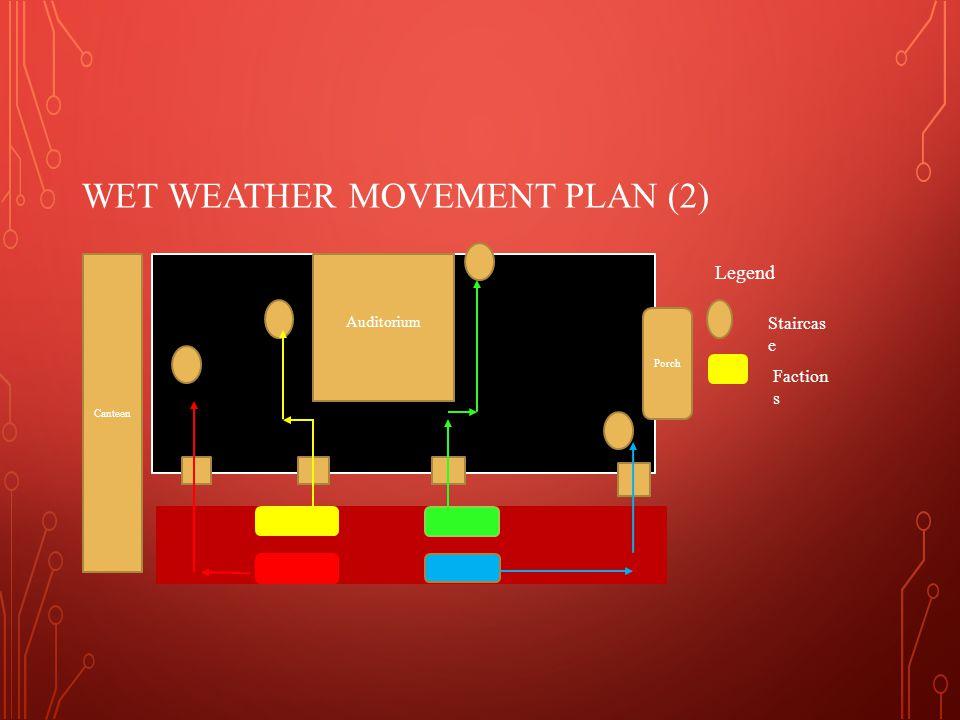 WET WEATHER MOVEMENT PLAN (2) Porch Auditorium Canteen Legend Staircas e Faction s