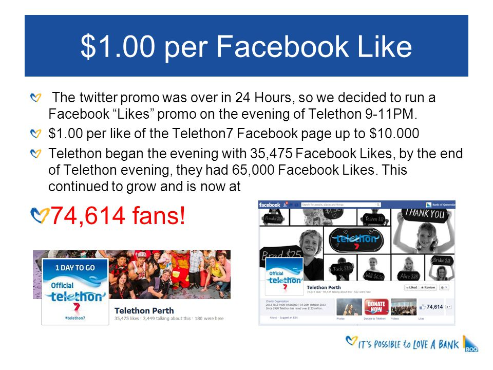 $1.00 per Facebook Like The twitter promo was over in 24 Hours, so we decided to run a Facebook Likes promo on the evening of Telethon 9-11PM.