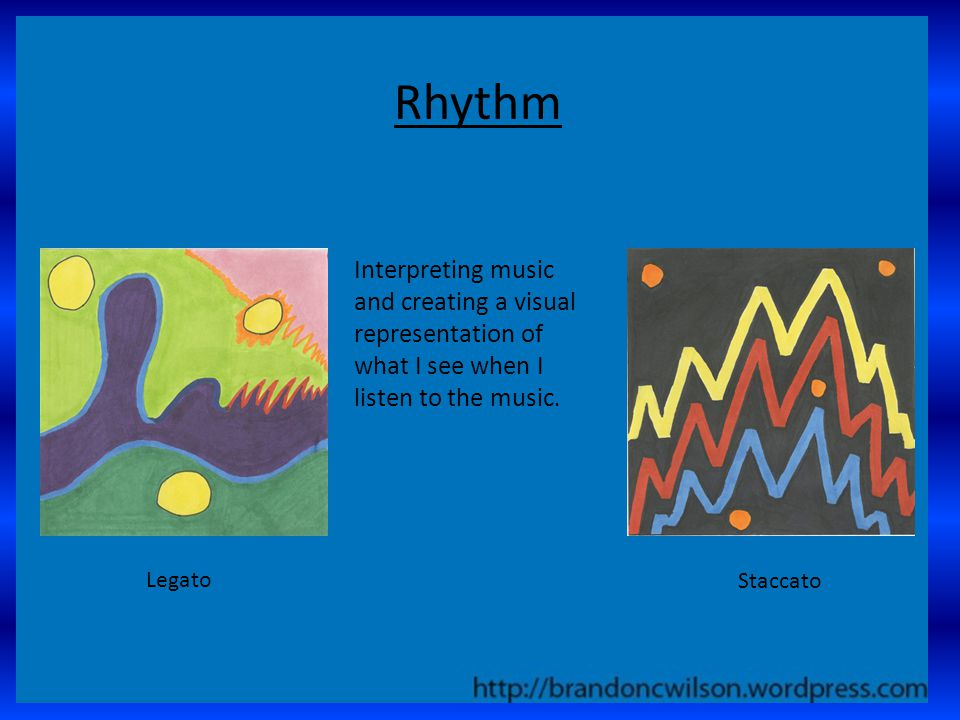 Rhythm Interpreting music and creating a visual representation of what I see when I listen to the music.