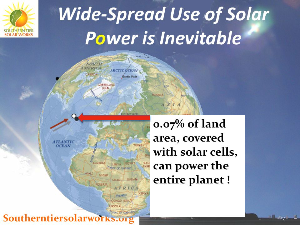 Southerntiersolarworks.org 17 Wide-Spread Use of Solar Power is Inevitable 0.07% of land area, covered with solar cells, can power the entire planet !