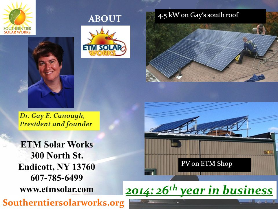 Southerntiersolarworks.org 4.5 kW on Gay's south roof PV on ETM Shop Dr.