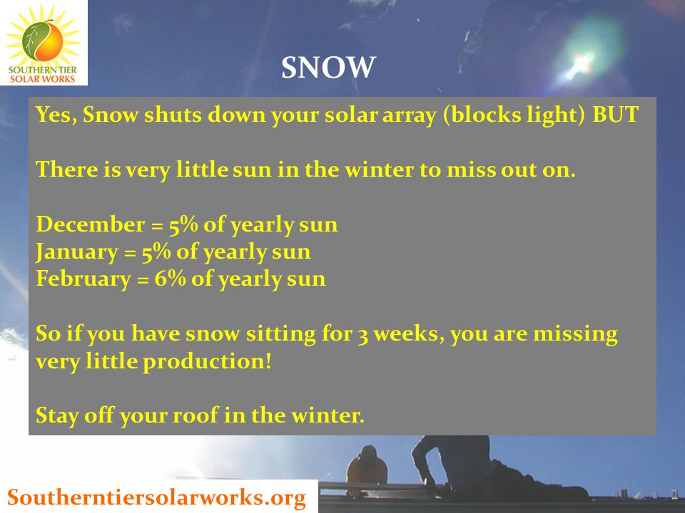 Southerntiersolarworks.org Yes, Snow shuts down your solar array (blocks light) BUT There is very little sun in the winter to miss out on.