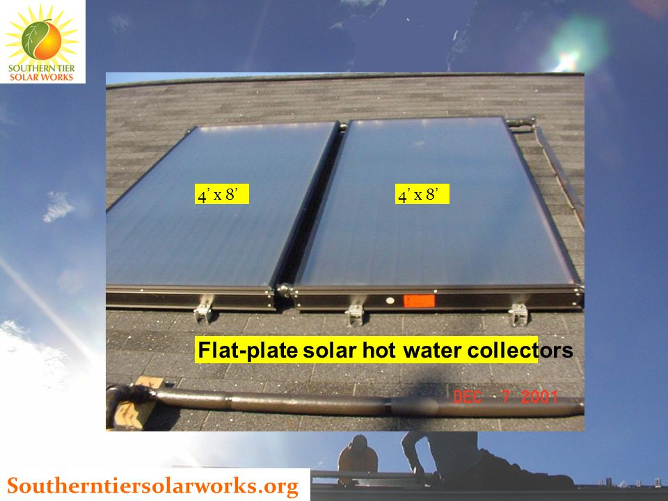 Southerntiersolarworks.org Flat-plate solar hot water collectors 4 ' x 8 '
