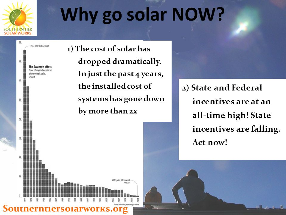 Southerntiersolarworks.org 1) The cost of solar has dropped dramatically.