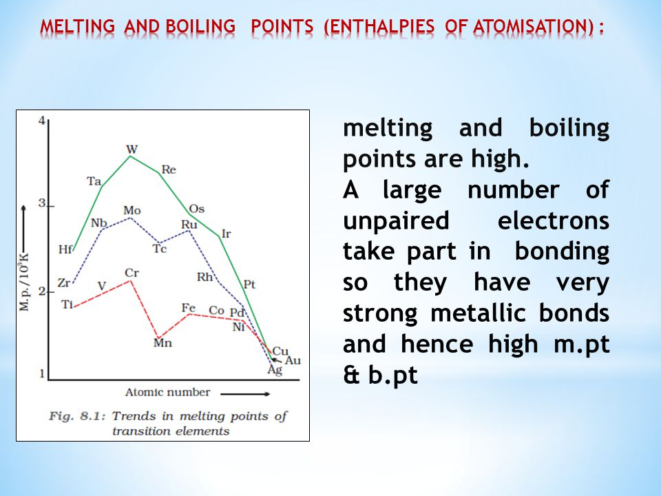 melting and boiling points are high. A large number of unpaired electrons take part in bonding so they have very strong metallic bonds and hence high
