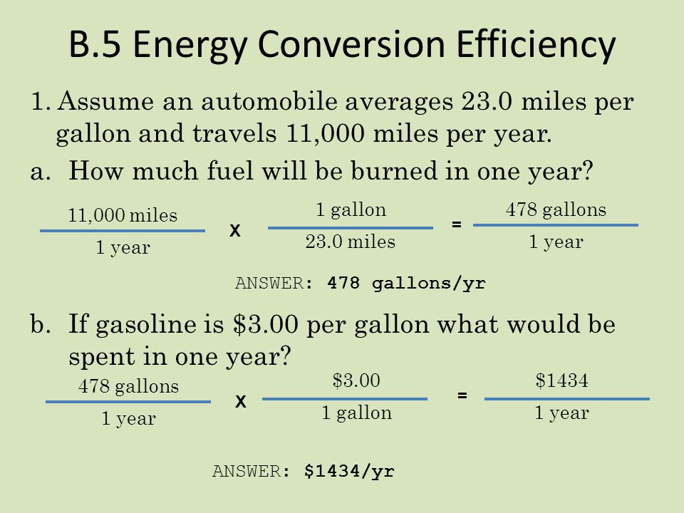 B.5 Example (How problems should be set up!) Assume my automobile averages 28.45 miles per gallon and travels 15,000. miles per year. a.How much fuel