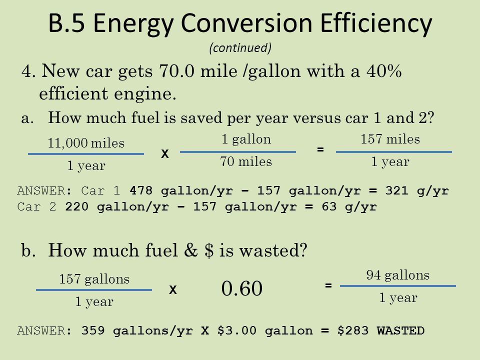 B.5 Energy Conversion Efficiency (continued) 3. Q1 automobile uses only 25% of the gasoline's energy. a.How much fuel is wasted each year due to ineff