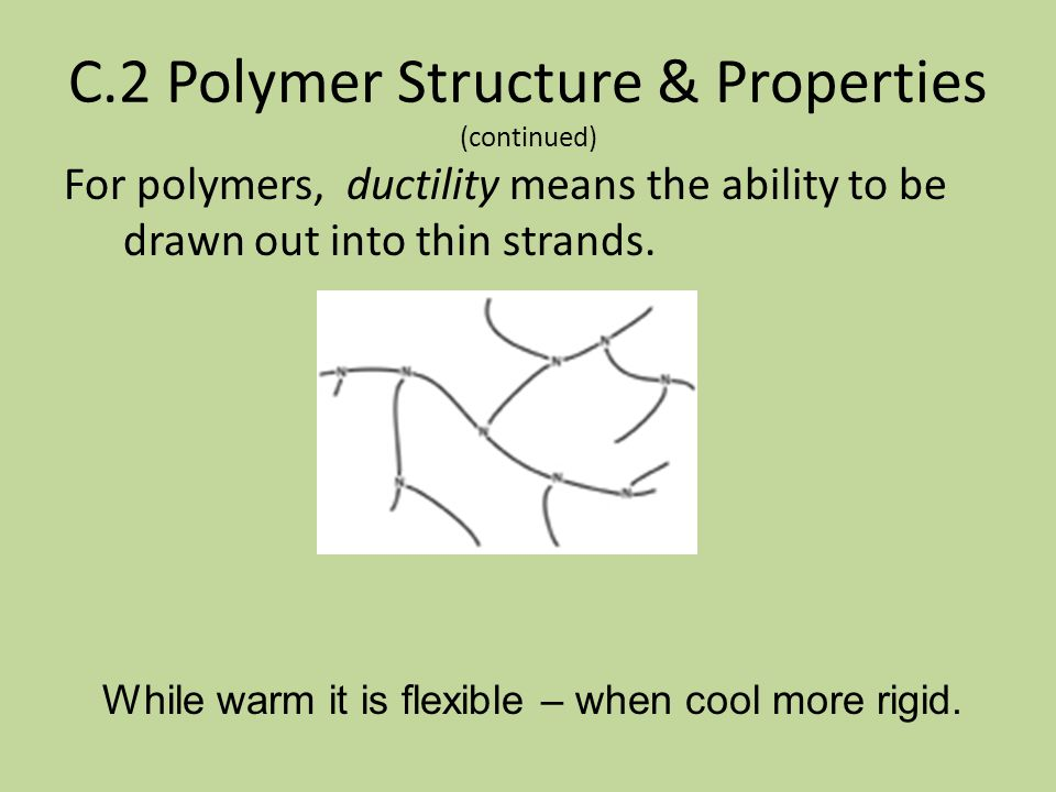 C.2 Polymer Structure & Properties While unmodified polymer molecules coil loosely. Liquid polymer is intertwined like spaghetti. In this form it is f