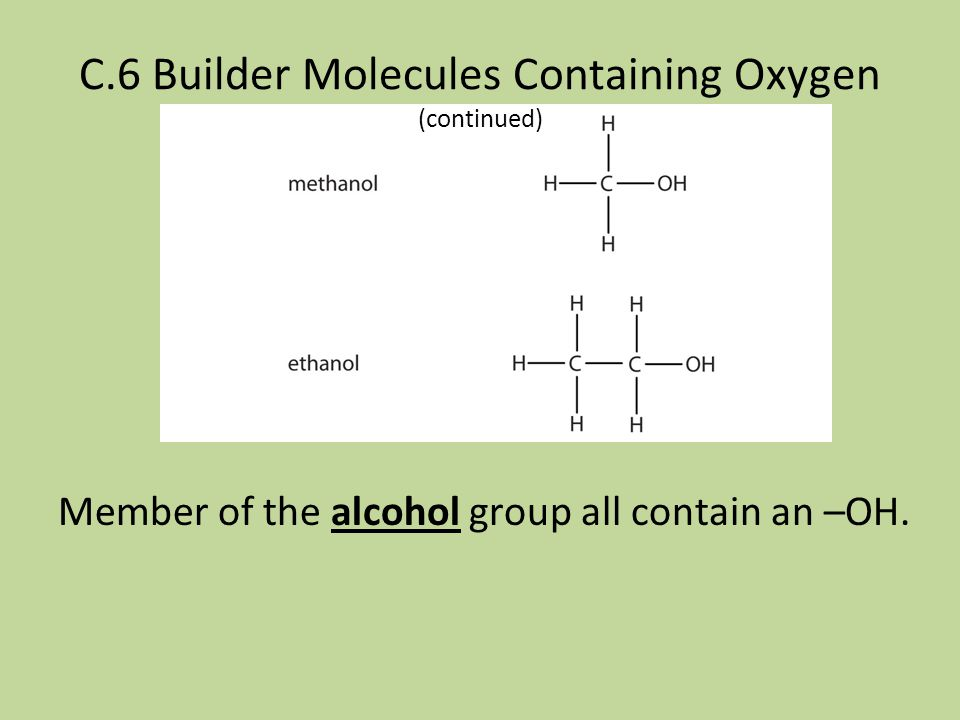 C.6 Builder Molecules Containing Oxygen Organic compounds are classified in functional groups most often based on properties and characteristics