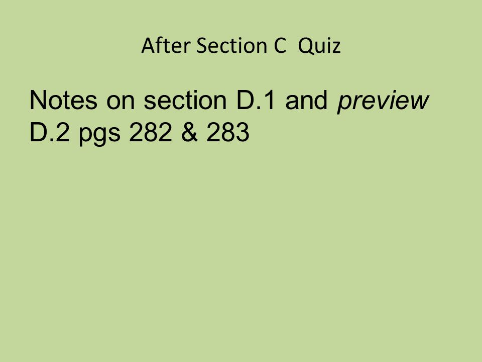 Section C Quiz Break