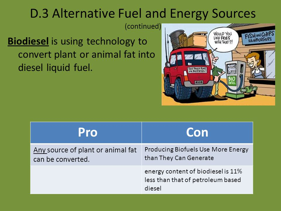 D.3 Alternative Fuel and Energy Sources (continued) Coal liquefaction is the technology of turning coal to a liquid fuel. ProCon U.S. coal reserves ar
